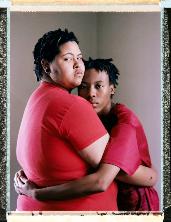 23 year-old, black, demipansexual, non-binary transmasc Mike Taylor with their best friend and former partner 21 year-old, black and indigenous, panromantic, pansexual, agender Nasiir Amare Ashhad at MikeÕs home in New Orleans. Nasiir is homeless. Behind the scenes photography and video and assistant: Myles Golden, mylessgolden@gmail.com, Phone +1 757 751 3135. Photography by Robin Hammond, pitures@robinhammond.co.uk. Editor: Mallory Benedict, Mallory.Benedict@natgeo.com, +1 202.791.1282. 16 March 2019