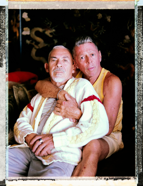 63 year-old, Welsh-Jew gay/bisexual Rich Burton Jr expresses his gender identity as Òsexual.Ó He sits with his 72 year old live in domestic partner, white, gay man Pedro Barrios at home in Miami, Florida. Behind the scenes photography and video and assistant: Juan Pablo Ampudia, juanpablo@cuartocreativo.com. Phone +52 1 55 8676 5741. Photography by Robin Hammond, pitures@robinhammond.co.uk. Editor: Mallory Benedict, Mallory.Benedict@natgeo.com, +1 202.791.1282. 30 March 2019